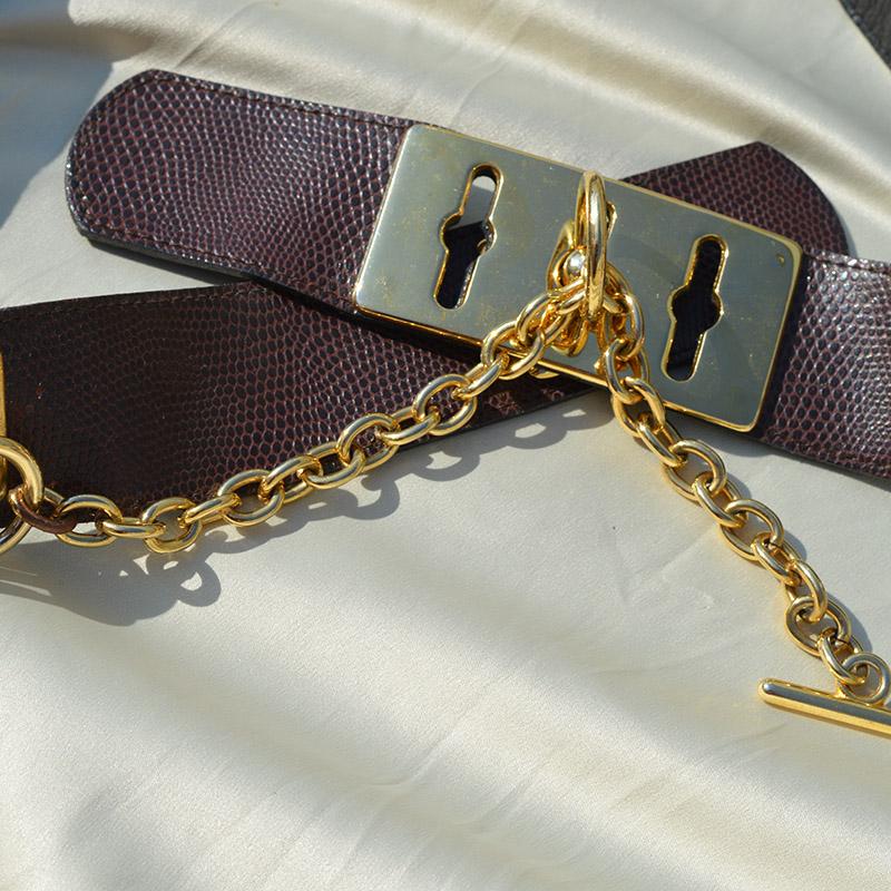 brown and gold vintage belt