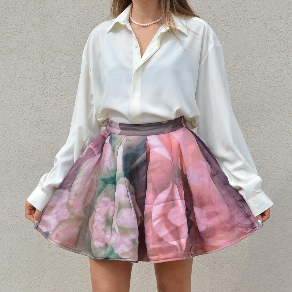 80/'s Vintage Skirt Size 8 Pleated Floral Skirt 90/'s Fashion Pocket Skirt